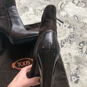 Tod's Shoes - Tod's Brown Leather Suede Ankle Platform Boots